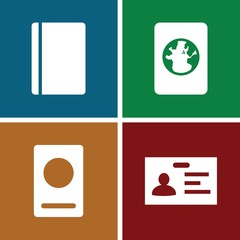 Set of 4 identification filled icons
