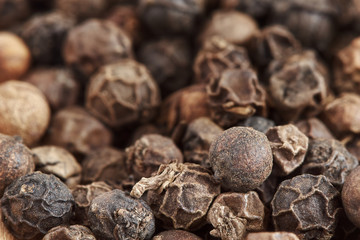 Pile of black pepper corns. Close-up with selective focus