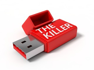 3d illustration of killer usb stick.