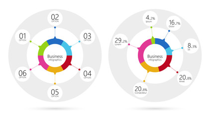 Modern infographic template pie charts with 6 steps. Business circle template with options for brochure, diagram, workflow, timeline, web design. Vector EPS 10