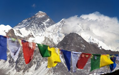 himalayas mountains and Mount Everest with prayer flags