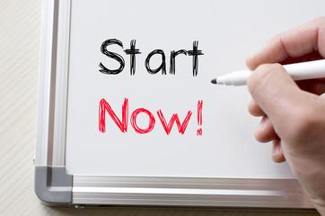Start now written on whiteboard