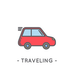 Line Color Traveling Icon on White Background