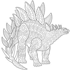 Stylized stegosaurus dinosaur of the Jurassic and early Cretaceous periods, isolated on white background. Freehand sketch for adult anti stress coloring book page with doodle and zentangle elements.