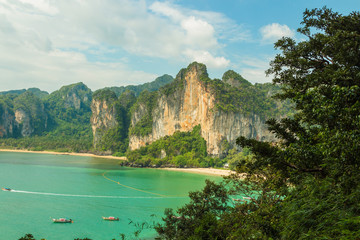 Ton Sai beach and Railay west beach aerial view from rock. Krabi province, Thailand