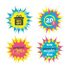 60 percent sale gift box tag sign icon.