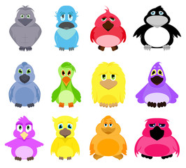 Cute colorful cartoon birds isolated on white background. Vector big set of illustrations.