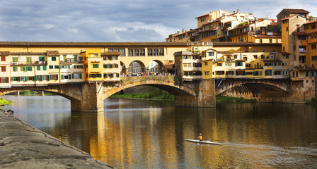 Sculling, Ponte Vecchio, Arno River, Florence, Italy