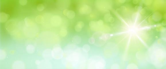 Bokeh Banner mit Sonne, Grün Blau - Frühling /Sommer Fototapete