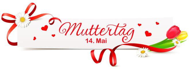 Banner mit roter Schleife, Tulpen und Margeriten - Termin Muttertag 2017