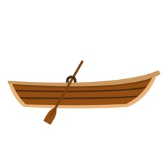 Boat with paddle icon, flat style