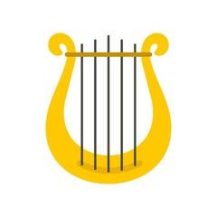 Harp icon, flat style