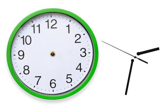 Large, wall, analog clock isolated on white background.