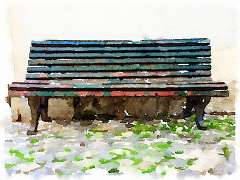 Digital watercolor painting of a rustic bench with flaking paint stood on a cobbled stone ground with space for text.