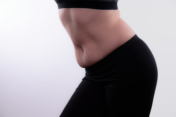 Female Bending at Waist Showing Belly Flab