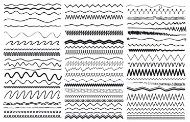 Set of wavy curved and zig zag criss cross horizontal lines. Vector illustration. Isolated on white background. Freehand drawing.