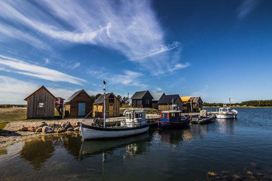 Faro, Gotland - May 16, 2015: Harbor in Faro in Gotland, Sweden