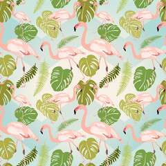 Hand drawn pink flamingo and monstera leaves. Seamless pattern