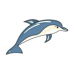 Dolphin icon in cartoon style isolated on white background. Sea animals symbol stock vector illustration.