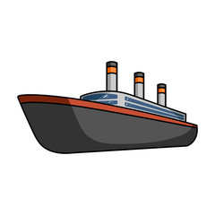 Huge cargo black liner.Ship for transportation of heavy thunderstorms on the sea and the ocean .Ship and water transport single icon in cartoon style vector symbol stock illustration.