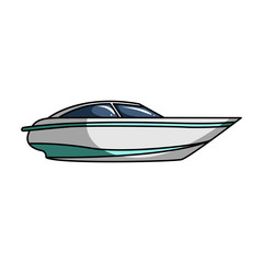 A small white boat with a motor.Boat for speed and competition.Ship and water transport single icon in cartoon style vector symbol stock illustration.