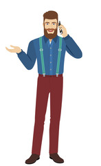 Hipster talking on the mobile phone and gesturing