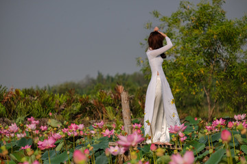 Beautiful woman with Vietnam traditional on lotus field