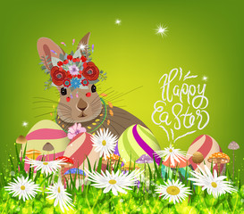 easter eggs and rabbit spring fresh grass background