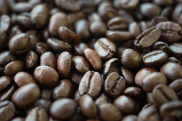 roasted coffee beans  background selectived focus on center