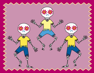 three skulls dancing