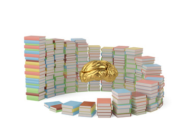 Golden brains in the pile of books.3D illustration.