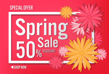 Spring sale with beautiful colorful flower. Vector illustration template background