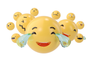 Emojis icons with facial expressions social media concept isolated white.3D illustration.
