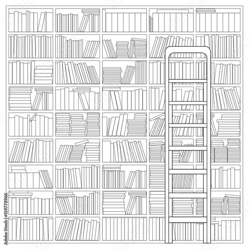 Bookshelf With Ladder Outline Drawing Of A