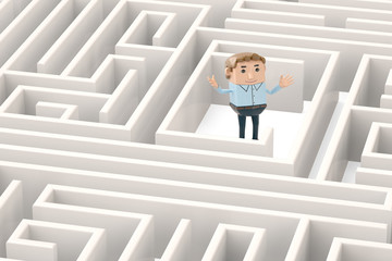 A businessman in the maze.3D illustration.