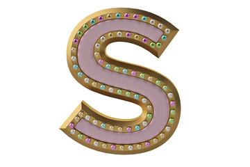 Luxury golden alphabet with diamonds isolated on white background letter S.3D illustration.