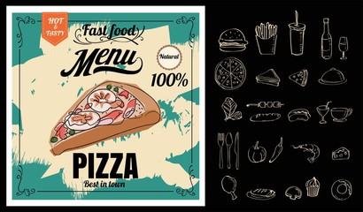 Restaurant Fast Foods menu pizza on chalkboard vector format eps10