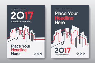 Red Color Scheme with City Background Business Book Cover Design Template in A4. Can be adapt to Brochure, Annual Report, Magazine,Poster, Corporate Presentation, Portfolio, Flyer, Banner, Website