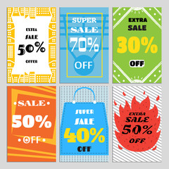 A set of sale banners for a website and promotions in stores