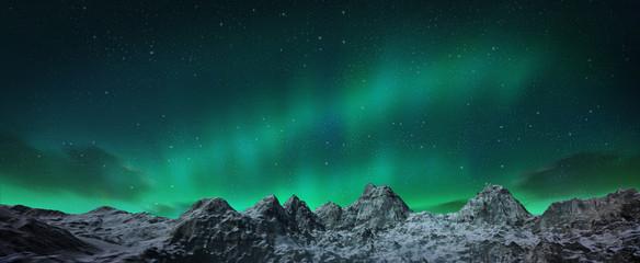 Aurora borealis above snowy islands