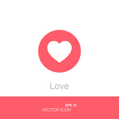 Pink button heart in circle. Like social icon a declaration of love. Button for expressing social emoji. Flat vector illustration EPS 10