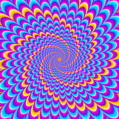 Blue and pink background with yellow pulsing spirals. Motion illusion.