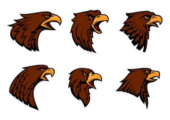 Hawk heraldic mascot vector icons set
