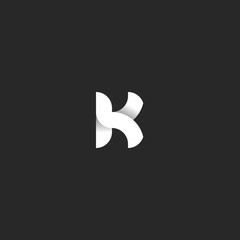 Logo K letter mockup black and white gradient ribbon shape. Intersection smooth lines typography design element. Idea identity emblem for business card.