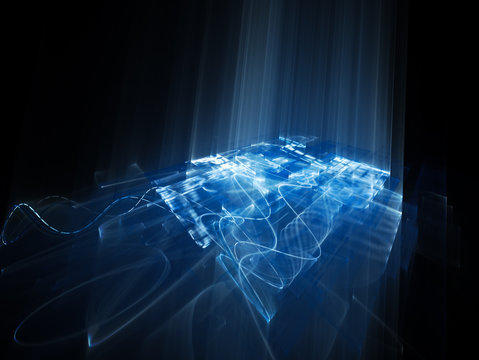 Abstract background element. Fractal graphics series. Three-dimensional composition of wave shapes and grids. Science and technology concept. Blue and black colors.