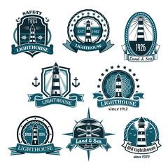 Nautical lighthouse vector icons set