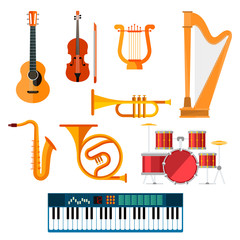 Musical wind, key or string vector instruments