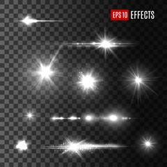Stars shine light vector isolated icons