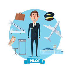 Pilot profession man and vector flight items