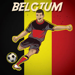 Belgium soccer player with flag background